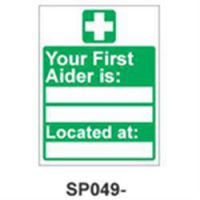 Self Adhesive Sign (First Aider Is) 150 x 200mm